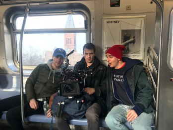 "Benjamin J. Murray (Director of Photography/Producer), Anthony Johnston (Andy) shooting ""Trophy Boy"" on the subway. Photo by Andrew Werner."