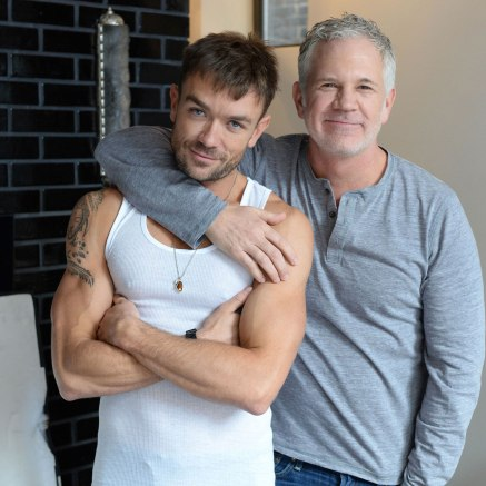 """Emrhys Cooper (James), and Gerald McCullouch (Mark) on the set of """"Trophy Boy."""" Photo by Andrew Werner."""