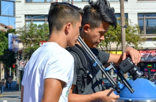 Co-creator and actor Kyle Cabral and Cinematographer on set.