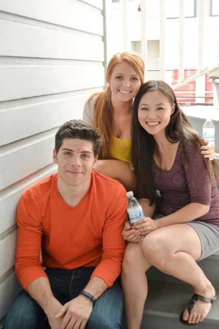 """Paper Boys"" actors Nathan Brown, Sarah Elizabeth, Kai Liu on set."