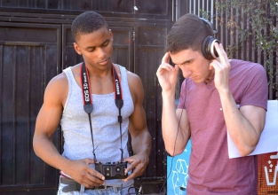 """""""Paper Boys"""" Sound and Sound Mixer (episode 3) Desmond Lott and Writer, Director, Executive Producer Curtis Casella on set."""