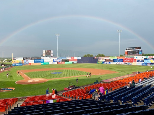 A rainbow came out for Pride Night at the Frederick Keys game!