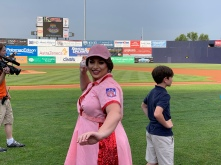 Miss Gay Maryland America 2019 Chasity Vain throws out the first pitch.