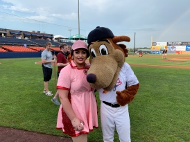 Miss Gay Maryland America 2019 Chasity Vain and Frederick Keys mascot Keyote.