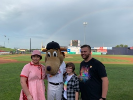 Miss Gay Maryland America 2019 Chasity Vain and Frederick Keys mascot Keyote, Skye, and Coach Christopher Hashemzadeh.