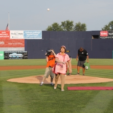 Miss Gay Maryland America 2019 Chasity Vain throws out the first pitch. Photo courtesy of the Frederick Keys.