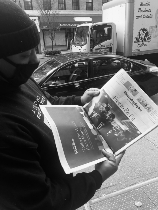 Founder Hector Guadalupe, checking out the April 14, 2020 New York Times story on A Second U Foundation